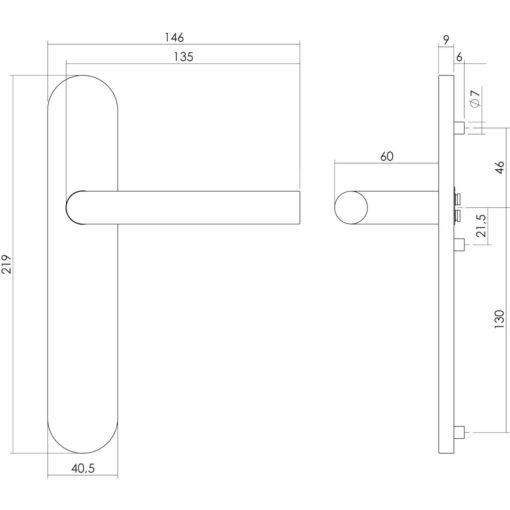 Intersteel deurklink L-hoek op schild blind INOX geborsteld - Technische tekening