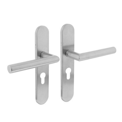 Intersteel deurklink L-hoek op schild profielcilindergat INOX geborsteld