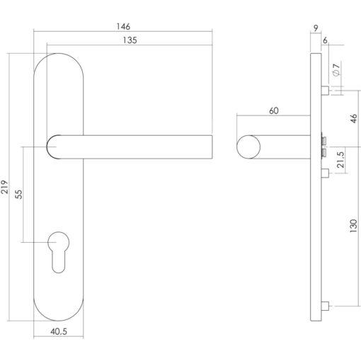 Intersteel deurklink L-hoek op schild profielcilindergat INOX geborsteld - Technische tekening