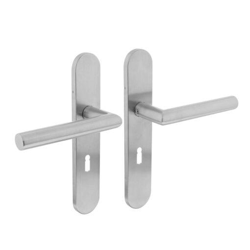 Intersteel deurklink L-hoek op schild sleutelgat 56 mm INOX geborsteld