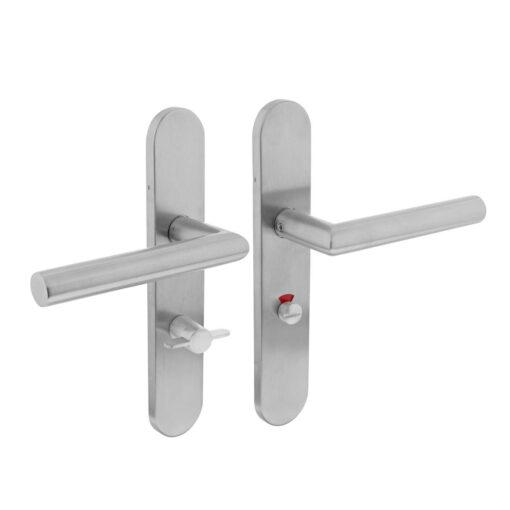 Intersteel deurklink L-hoek op schild toilet-/badkamersluiting 63 mm links INOX geborsteld