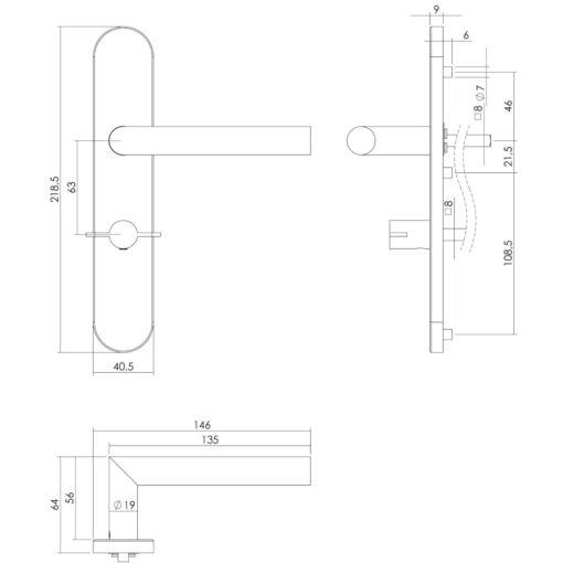 Intersteel deurklink L-hoek op schild toilet-/badkamersluiting 63 mm links INOX geborsteld - Technische tekening
