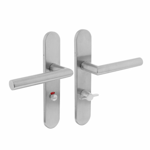 Intersteel deurklink L-hoek op schild toilet-/badkamersluiting 63 mm rechts INOX geborsteld