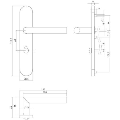 Intersteel deurklink L-hoek op schild toilet-/badkamersluiting 63 mm rechts INOX geborsteld - Technische tekening