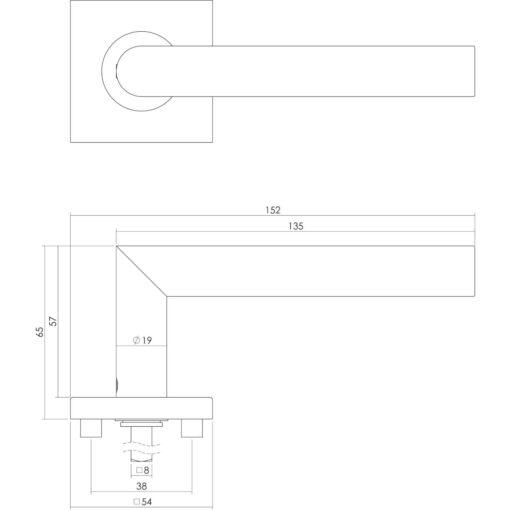 Intersteel deurklink L-hoek op vierkant rozet sleutelgat INOX geborsteld - Technische tekening