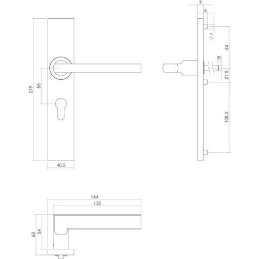 Intersteel deurklink L-hoek plat op rechthoekig schild profielcilindergat 55 mm INOX geborsteld - Technische tekening