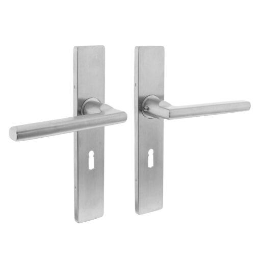 Intersteel deurklink L-hoek plat op rechthoekig schild sleutelgat 56 mm INOX geborsteld