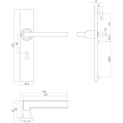Intersteel deurklink L-hoek plat op rechthoekig schild sleutelgat 56 mm INOX geborsteld - Technische tekening