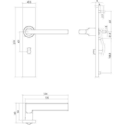 Intersteel deurklink L-hoek plat op rechthoekig schild toilet-/badkamersluiting 63 mm INOX geborsteld - Technische tekening