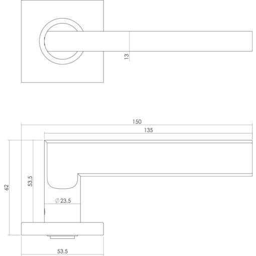 Intersteel deurklink L-hoek plat op vierkant rozet sleutelgat INOX geborsteld - Technische tekening