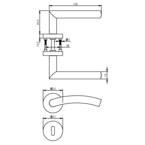 Intersteel deurklink Lisa 90° met rozet sleutelgat INOX geborsteld - Technische tekening