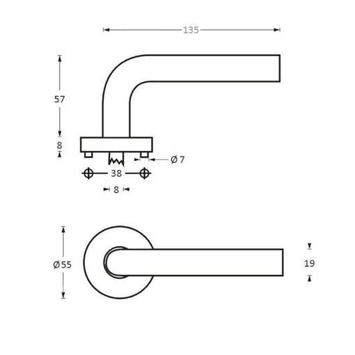 Intersteel deurklink Lisa op kunststof rozet INOX geborsteld - Technische tekening