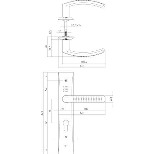 Intersteel deurklink Madox op schild profielcilindergat 72 mm chroom - Technische tekening