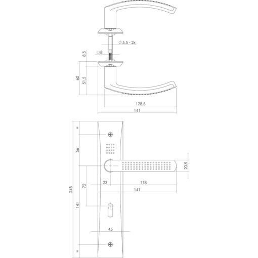 Intersteel deurklink Madox op schild sleutelgat 72 mm nikkel mat - Technische tekening
