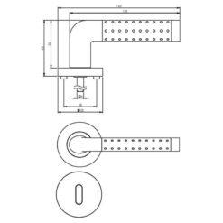 Intersteel deurklink Marion op rozet sleutelgat chroom - Technische tekening