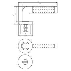 Intersteel deurklink Marion op rozet toilet-/badkamersluiting chroom - Technische tekening