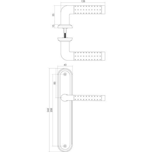 Intersteel deurklink Marion op schild blind chroom - Technische tekening