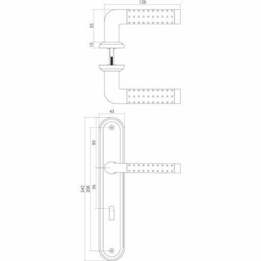 Intersteel deurklink Marion op schild sleutelgat 56 mm chroom - Technische tekening