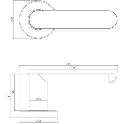 Intersteel deurklink Massief strak-elegant op rozet met ring met veer INOX geborsteld - Technische tekening