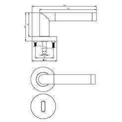Intersteel deurklink Nicol op rozet sleutelgat chroom - Technische tekening