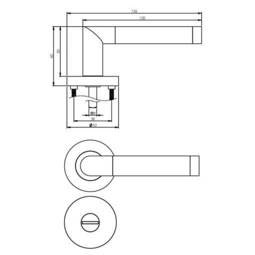 Intersteel deurklink Nicol op rozet toilet-/badkamersluiting chroom - Technische tekening