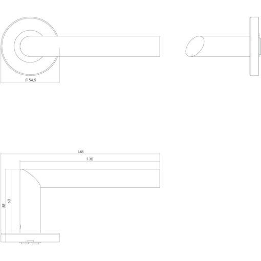 Intersteel deurklink Ovale L-hoek op rozet EN1906/4 INOX geborsteld - Technische tekening