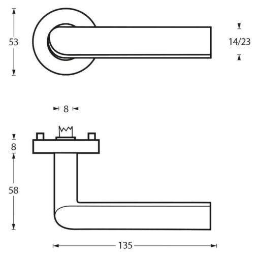 Intersteel deurklink Ovale L-hoek op rozet INOX geborsteld - Technische tekening