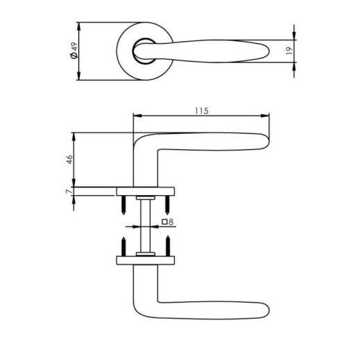 Intersteel deurklink Phobos op rozet chroom mat - Technische tekening