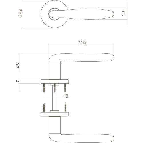 Intersteel deurklink Phobos op rozet nikkel mat - Technische tekening