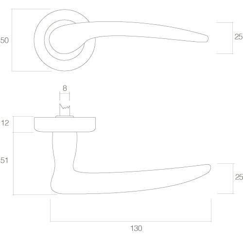 Intersteel deurklink Pin Up op rozet chroom - Technische tekening