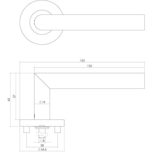 Intersteel deurklink Recht L-hoek op rozet EN1906/4 profielcilindergat INOX geborsteld - Technische tekening
