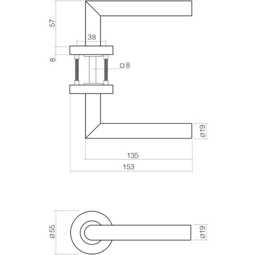 Intersteel deurklink Recht L-hoek op rozet EN1906/4 sleutelgat INOX geborsteld - Technische tekening
