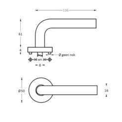 Intersteel deurklink Recht diameter 16 mm op rozet INOX geborsteld - Technische tekening