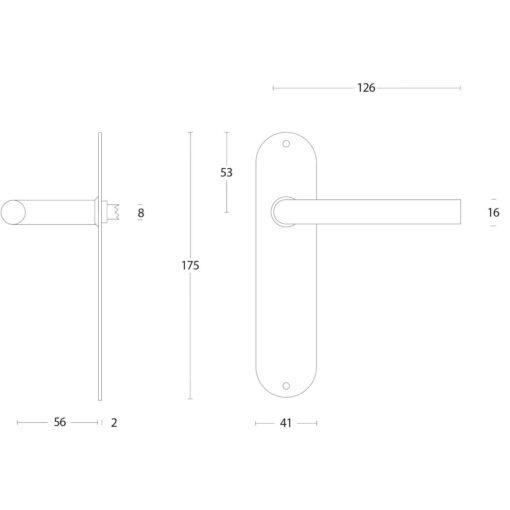 Intersteel deurklink Recht diameter 16 mm slank op schild blind INOX geborsteld - Technische tekening