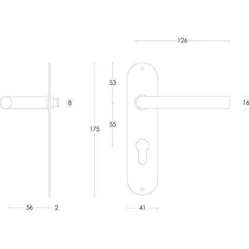 Intersteel deurklink Recht diameter 16 mm slank op schild profielcilindergat 55 mm INOX geborsteld - Technische tekening