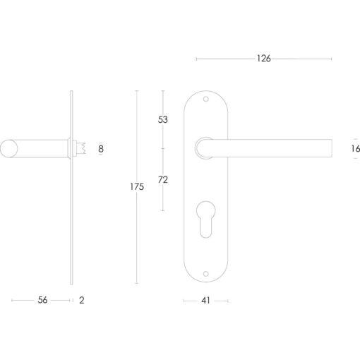 Intersteel deurklink Recht diameter 16 mm slank op schild profielcilindergat 72 mm INOX geborsteld - Technische tekening