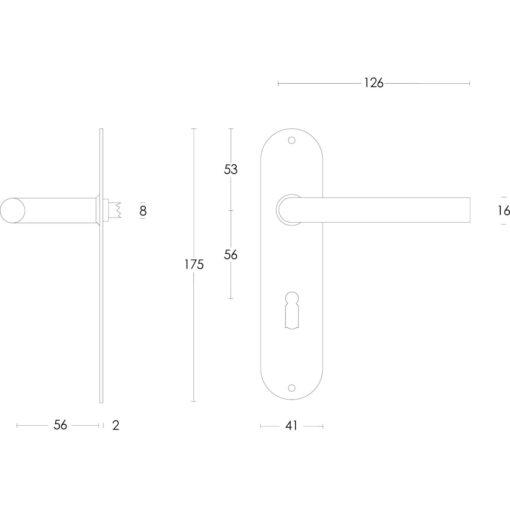 Intersteel deurklink Recht diameter 16 mm slank op schild sleutelgat 56 mm INOX geborsteld - Technische tekening