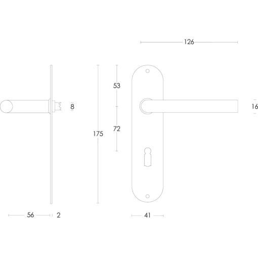 Intersteel deurklink Recht diameter 16 mm slank op schild sleutelgat 72 mm INOX geborsteld - Technische tekening