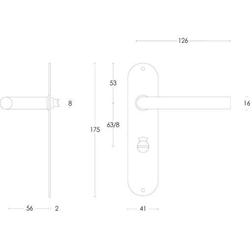Intersteel deurklink Recht diameter 16 mm slank op schild toilet-/badkamersluiting 63 mm INOX geborsteld - Technische tekening