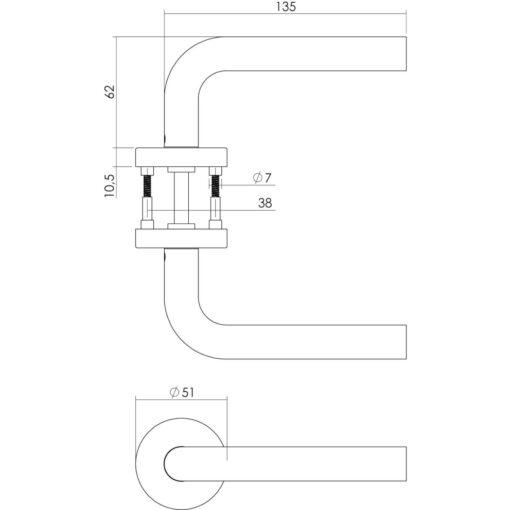 Intersteel deurklink Recht met rozet sleutelgat INOX geborsteld - Technische tekening