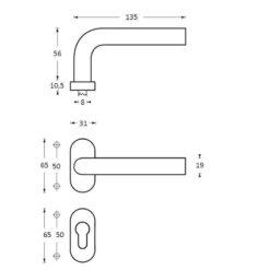Intersteel deurklink Recht op ovaal rozet profielcilindergat INOX geborsteld - Technische tekening