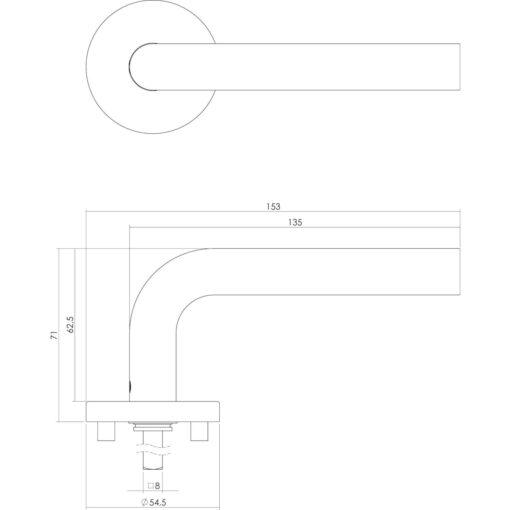 Intersteel deurklink Recht op rond rozet EN1906/4 met profielcilindergat INOX geborsteld - Technische tekening