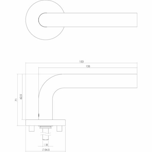 Intersteel deurklink Recht op rond rozet EN1906/4 met sleutelgat INOX geborsteld - Technische tekening
