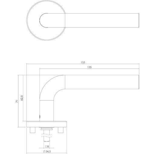 Intersteel deurklink Recht op rozet EN1906/4 INOX geborsteld - Technische tekening