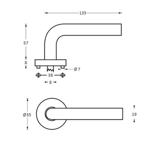 Intersteel deurklink Recht op rozet INOX geborsteld - Technische tekening