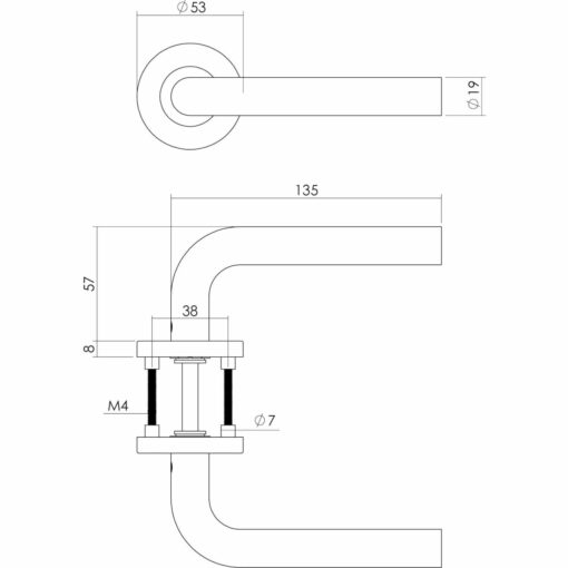 Intersteel deurklink Recht op rozet met 7 mm nok INOX geborsteld - Technische tekening