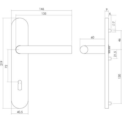 Intersteel deurklink Recht op schild sleutelgat 72 mm INOX geborsteld - Technische tekening