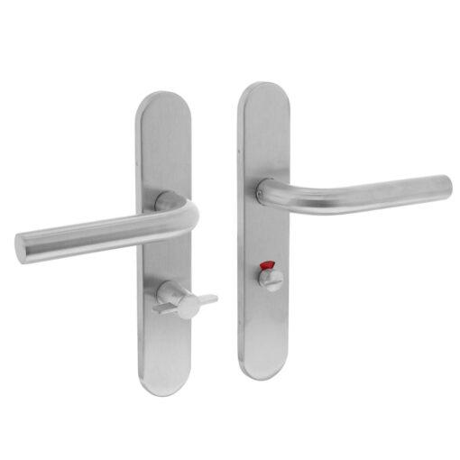 Intersteel deurklink Recht op schild toilet-/badkamersluiting 63 mm INOX geborsteld