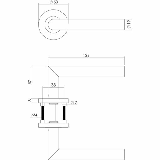 Intersteel deurklink Rechte L-hoek op rozet met 7 mm nok INOX geborsteld - Technische tekening