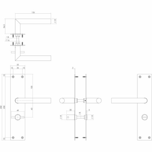 Intersteel deurklink Rhenen op schild met sluiting INOX geborsteld - Technische tekening